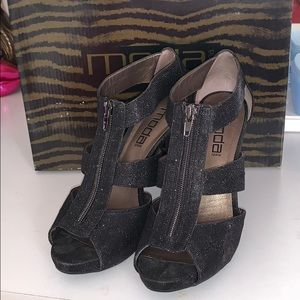 Black shimmer cut out heels